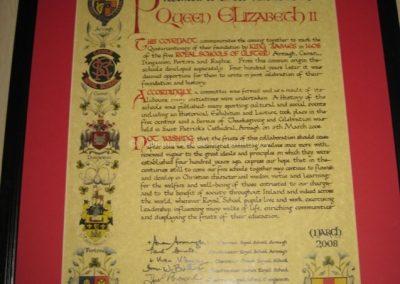 Документ, подготовленный школой Royal Armagh к визиту королевы Елизаветы II