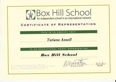 Сертификат представителя Box Hill School