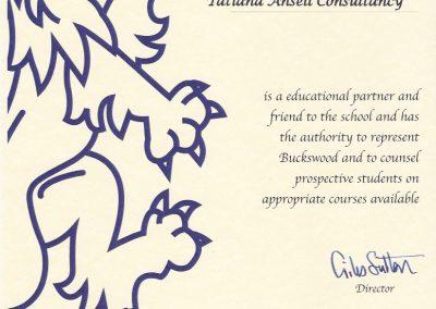 Сертификат представителя Buckswood School