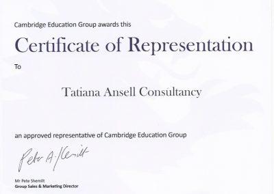 Сертификат представителя Cambridge Education Group