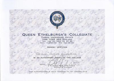 Сертификат представителя Queen Ethelburga's Collegiate