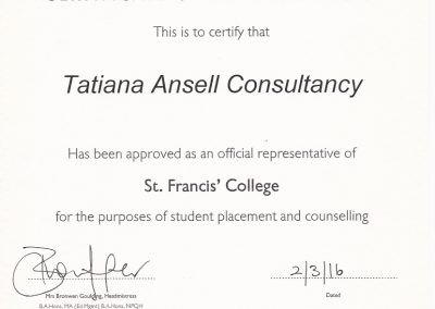 Сертификат представителя St Francis' College