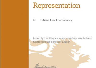 Сертификат представителя Stafford House School of English