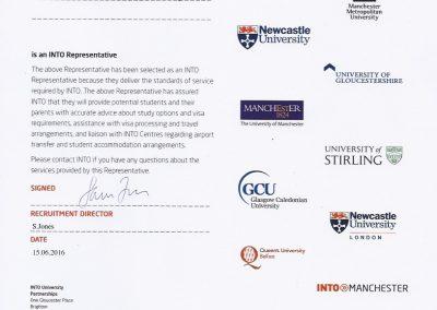 Сертификат представителя INTO - Великобритания