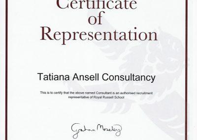 Сертификат представителя Royal Russell School