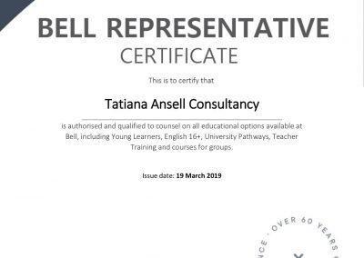 Сертификат представителя курсов и летних лагерей английского языка Bell